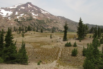 My mom took this picture of South Sister in Oregon from this past summer.  My step-dad and I are the two tiny specks on the trail!