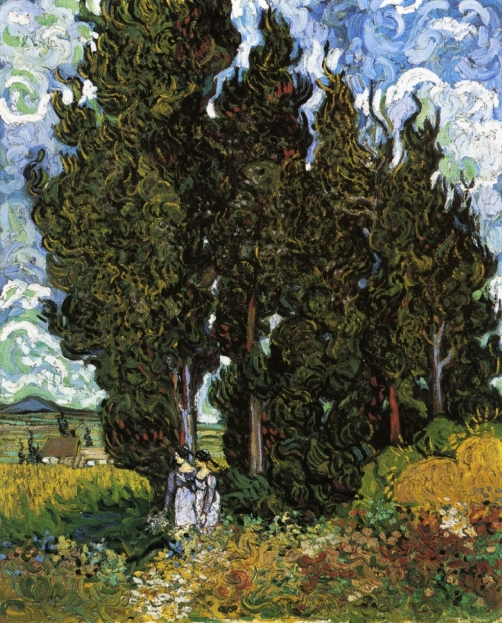 Vincent Van Gogh, Cypresses with Two Women, 1889